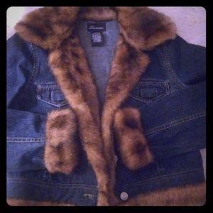 Faux Fur Jean Jacket Sz S